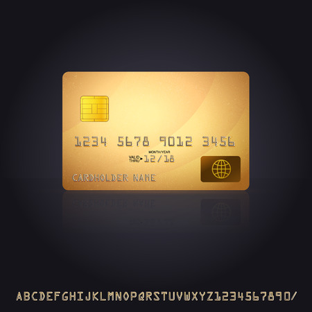 Gold Credit Card Icon. Vector Illustration with additional credit card font