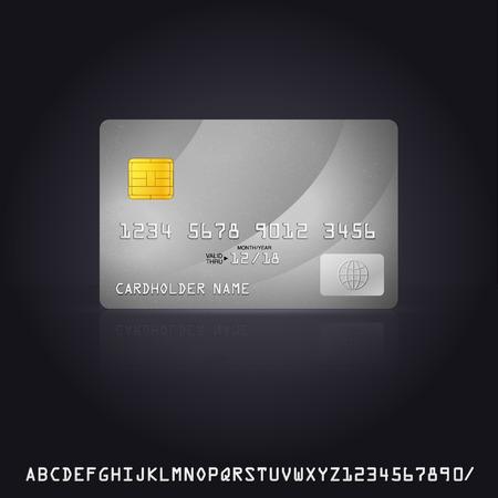 銀クレジット カード アイコン。クレジット カードに追加のフォントをベクター グラフィック