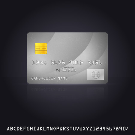 debit cards: Silver Credit Card Icon. Vector Illustration with additional credit card font Illustration
