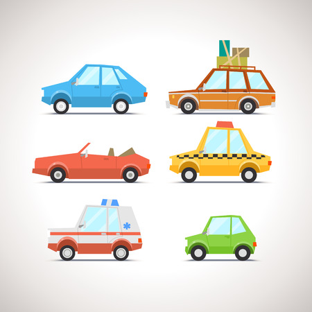 speed car: Car Flat Icon Set 1 Illustration