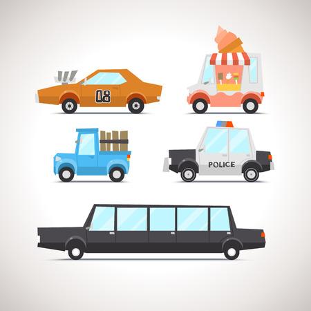 camion caricatura: Icono Flat Car Set 2