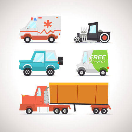 vintage truck: Car Flat Icon Set 3 Illustration