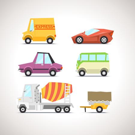 carro caricatura: Icono Flat Car Set 5
