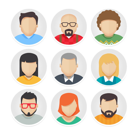 male hair model: Vector Flat Avatar Character Icons Set 1