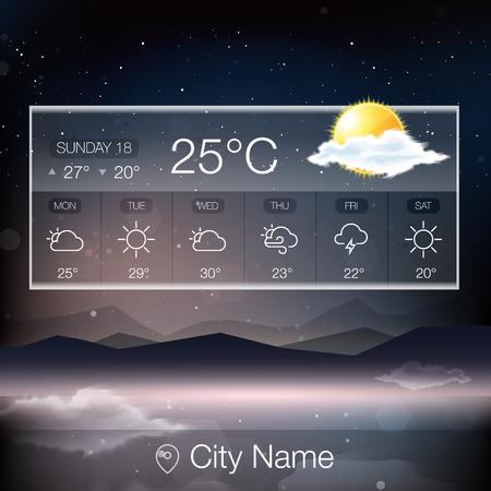 Vector Weather Widget with landscape background