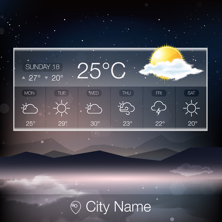 cloudy weather: Vector Weather Widget with landscape background