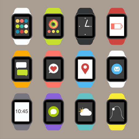 watch: Vector Smart Watch Icons Illustration