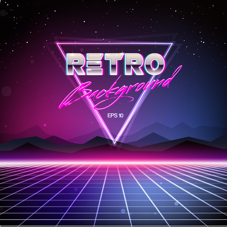 estrellas moradas: Antecedentes 80s Retro Sci-Fi Vectores