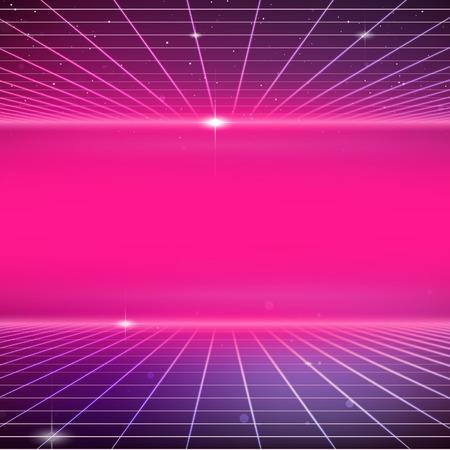 80s Retro Sci-Fi Background  イラスト・ベクター素材