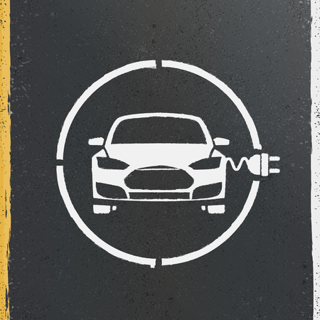 gasoline powered: Electric Eco Car Charging Station Icon on asphalt texture Illustration