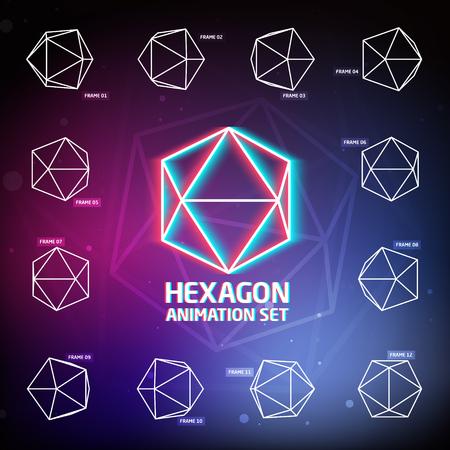 pre loader: Vector Hexagon Animation Set for preloaders and presentations