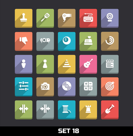 webcamera: Trendy Vector Icons With Long Shadow Set 18 Illustration