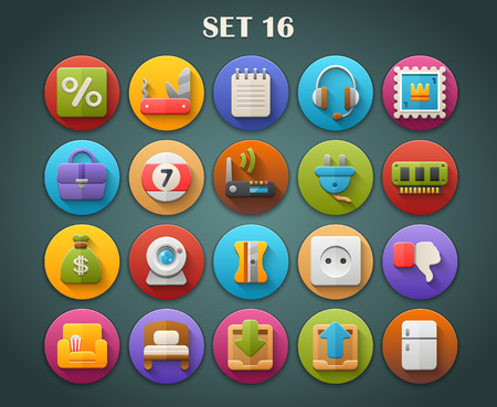 webcamera: Round Bright Icons with Long Shadow Set 16