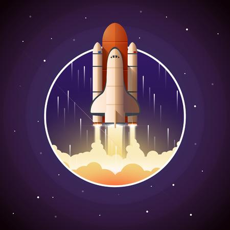 スペースシャトルの打ち上げ。宇宙船と宇宙背景ベクトル イラスト