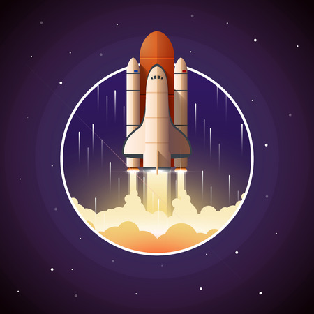 Space Shuttle Launch. Vector illustration with spaceship and space background Vettoriali