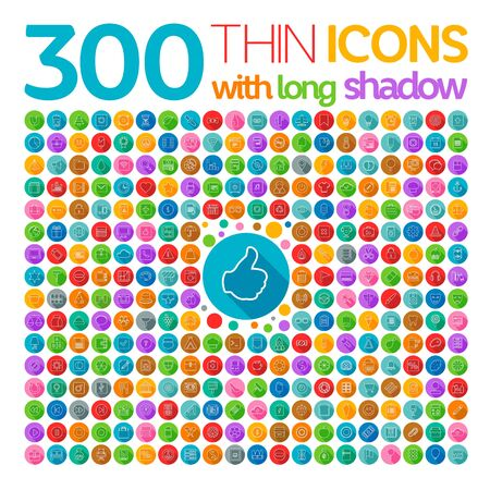 application icons: 300 Thin Icons With Long Shadow