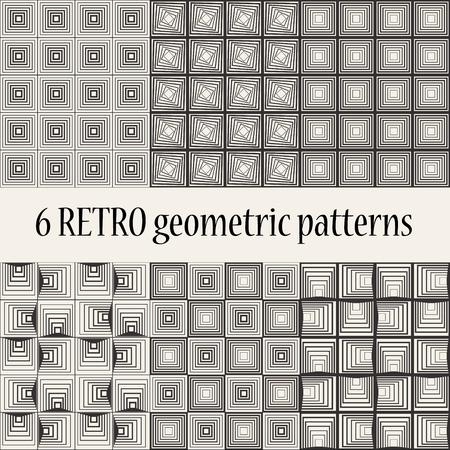2d wallpaper: 6 Retro Geometric Seamless Patterns Illustration