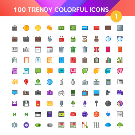 100 Universal Icons in Material Design Color Palette set 1 Vector