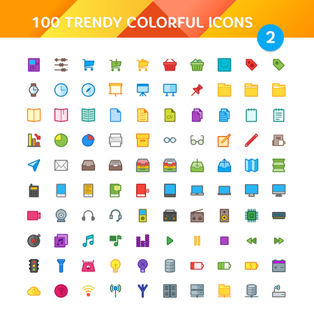 interface menu tool: 100 Universal Icons in Material Design Color Palette set 3 Illustration