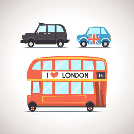 double decker bus: Car Flat Icon Set 7