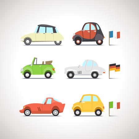 carritos de juguete: Icono Flat Car Set 8 Vectores