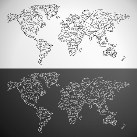 Vector Low Poly World Map Outline