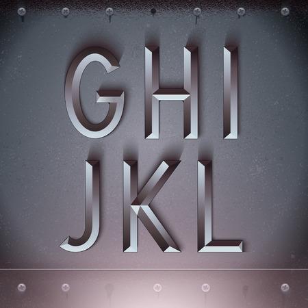 Vector Metal Embossed Font from G to L Zdjęcie Seryjne - 36984655