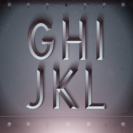 Vector Metal Embossed Font from G to L Illustration