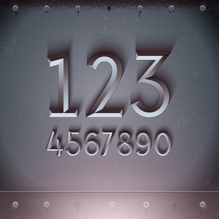 rusty metal: Vector Metal Embossed Numbers