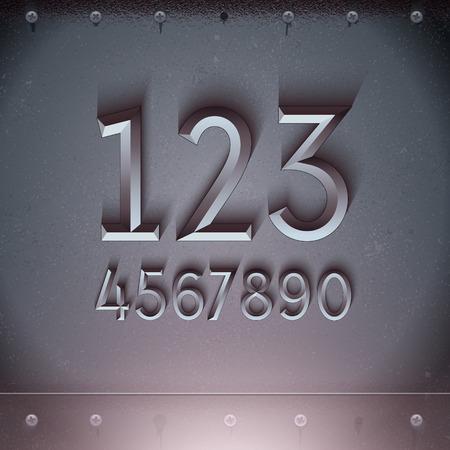 Vector metalen reliëfnummers