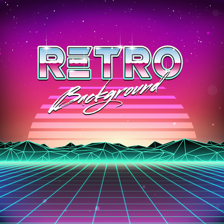 retro design: 80s Retro Futurism Sci-Fi Background