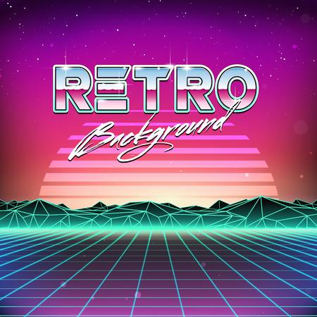 80s Retro Futurismo Sci-Fi Background Archivio Fotografico - 37356748