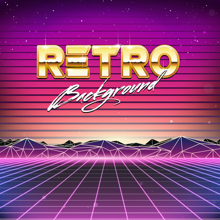 80s Retro Futurismo Sci-Fi Background Archivio Fotografico - 37356749
