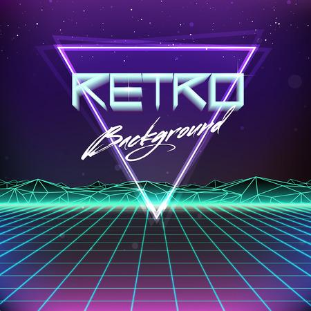 80 年代レトロ未来派特撮背景  イラスト・ベクター素材