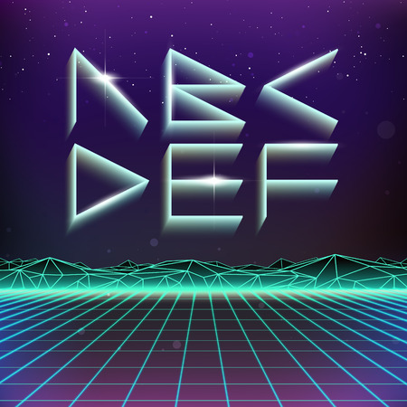 80's: 80s Retro Futurism Geometric Font from A to F