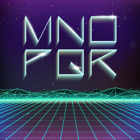 holographic: 80s Retro Futurism Geometric Font from M to R