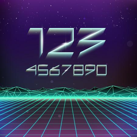 futurism: 80s Retro Futurism Geometric Numbers