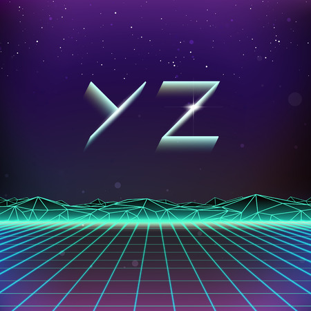 holographic: 80s Retro Futurism Geometric Font from Y to Z