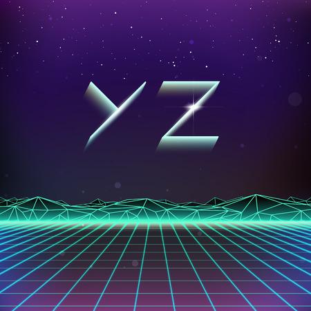 futurism: 80s Retro Futurism Geometric Font from Y to Z