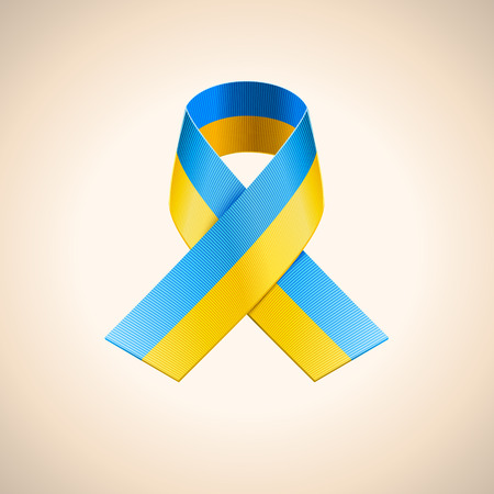 donbass: Vector Ukrainian Flag in the Ribbon. Blue and yellow stripes ribbon
