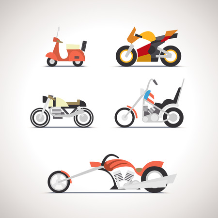 mini bike: Car Flat Icon Set 1 Illustration
