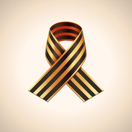 saint george: Vector Ribbon of Saint George. Black and gold stripes ribbon Illustration