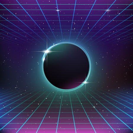 80s Retro Sci-Fi Background Illustration