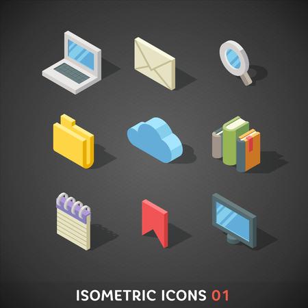 Flat Isometric Icons Set 1 Vector