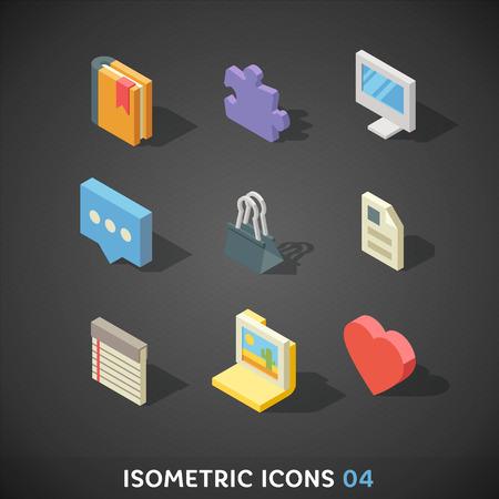 Flat Isometric Icons Set