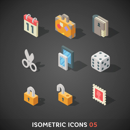 Flat Isometric Icons Set