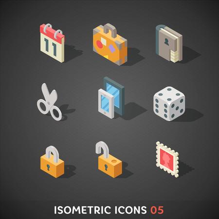 dados: Plano isométrico Icons Set Vectores