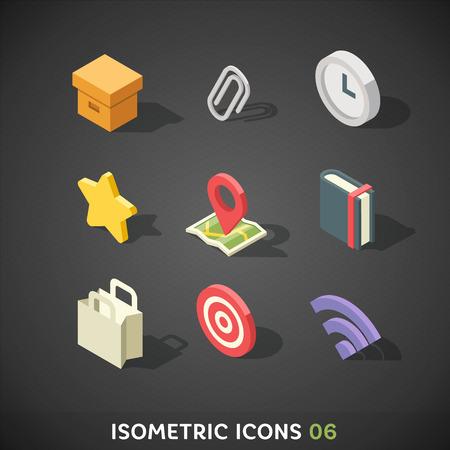 reloj: Plano isom�trico Icons Set Vectores