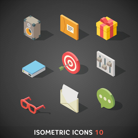 Flat Isometric Icons Set 10 Vector