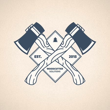 logging: Vintage Lumberjack Label. Vector Woodcutter Emblem
